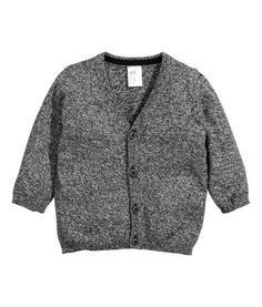 Black melange. Fine-knit cardigan in soft, melange cotton fabric with a V-neck and buttons at front. 6-9 months