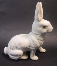 Antique-Japan-Paper-Mache-Rabbit-Bunny-w-Glass-Eyes-Easter-Candy-Container