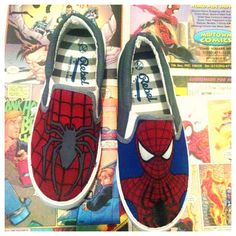 Spiderman hand painted shoes