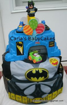 'Holy Batman' Diaper Cake  2 layer diaper cake made for a very special little boy celebrating his second birthday ( Size 4 diapers)