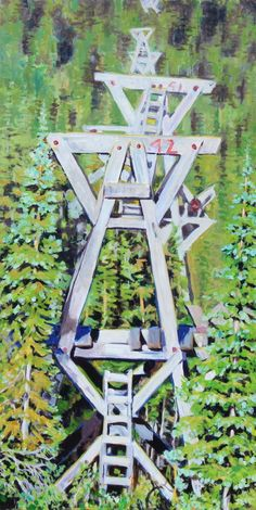 Aerial Tramway, acrylic, 48x24 inches, Jeff Wilson, 2018 Aerial Tramway, Stuff To Do, Things To Do, Symbols, Art, Things To Make, Art Background, Kunst, Performing Arts