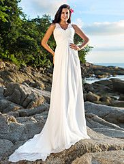 LAN+TING+BRIDE+A-line+Wedding+Dress+-+Chic+&+Modern+Open+Back+Court+Train+V-neck+Chiffon+with+Sequin+Beading+Criss-Cross+–+USD+$+370.00
