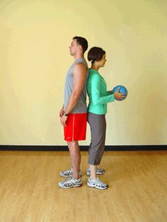 Today's Exercise: Twisting Medicine Ball Pass with Partner- If I could get my husband to do this.. I've heard it works