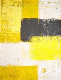 Simplement moderne, 2012 - oeuvre peinture abstraite contemporaine moderne mur décoratif livraison gratuite gris jaune blanc 11 x 14 12 x 18 16 x 20 imprimer