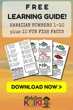 "Learn the Hawaiian Numbers 1-10 in ""Ōlelo Hawaiʻi with our FREE PRINTABLE LEARNING GUIDE.  Also included, 10 Fun Fish Facts about some of Hawaiiʻs Endemic Fish. Great for people traveling to Hawaii, homeschool families, teachers, and keiki of all ages, especially toddlers and preschool age children. Learn how-to speak Hawaiian with our animated learning videos at MAKAIWAKEIKI.COM ~ Hawaiian Language learning the fun way!! Aloha  :)"