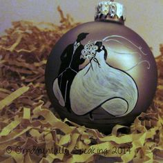 Wedding bride and groom, hand painted, and personalized Christmas ...