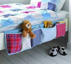 Pockets to hold things alongside a kid's bed.  Pretty and effective, as long as the comforter isn't using the space.