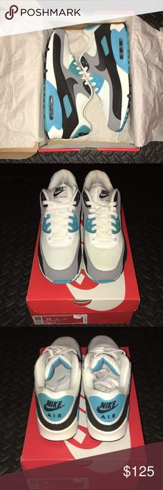 """Air Max 90 Essential """"Summit Blue"""" Sneakers Air Max 90 Essential """"Summit Blue"""" Sneakers - Summit White/Dark Charcoal-Medium Grey-Black Colorway - Men's 10 