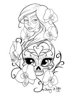 Sugar Skull Stencil | Sugar Skull Sleeve Tattoo Design by smallesthing on deviantART
