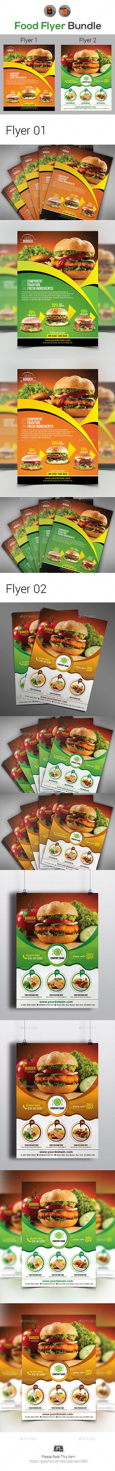 Restaurant  Flyer Bundle by aam360 INFORMATIONS FOR THIS BUNDLE:FEATURES: Flyer 01:Size 8.27鈥漻11.69鈥滲leed: .25鈥漈wo color variations (Green, Red) Fully editable Illus