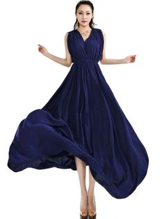 Trendy V Neck Sleeveless Waisted Women Maxi Dress Sapphire Blue
