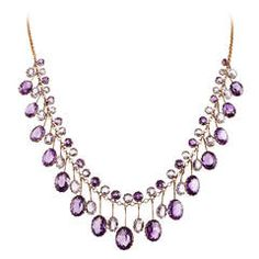 Victorian Amethyst Aquamarine Gold Collar Necklace | From a unique collection of vintage drop necklaces at https://www.1stdibs.com/jewelry/necklaces/drop-necklaces/