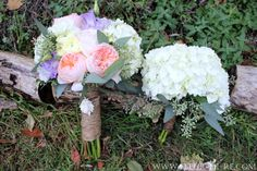 Coordinating Bridal and Bridesmaid Bouquets. Bridal bouquet made with White Hydrangea and Ranunculus, the most amazing Lavender Lisianthus (the colors looked painted) and our favorite Garden Rose from David Austin Roses, the Peach Juliet all hand-tied in bark twine. It was breathtaking. Her Bouquet Charm was purchased from BHLDN. Her Bridesmaids carried simple yet stunning White Hydrangea with Seeded Eucalyptus Bouquets also wrapped in Bark Twine.