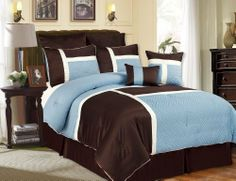 Modern blue and brown bedding set. I love the texture in the blue fabric.
