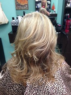 A little fun color to blend with her natural gray.