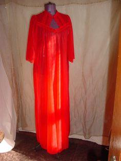Vintage Teysheen SHEER Red ROBE Bathrobe w Lace size Small As Is Long Length #Teysheen Seller florasgarden on ebay