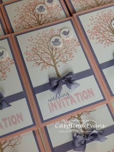 Sheltering Tree Wedding Invitations In Blushing Bride & Wisteria Wonder using Stampin' Up! products. 2015 Carolina Evans #stampinup #wedding