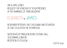 Sweet and Simple - Invite - #Wedding stationery - colours can be amended