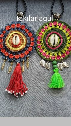 For Beginners Necklaces Crochet Jewelry Patterns, Crochet Flower Patterns, Crochet Accessories, Crochet Mandala, Crochet Motif, Diy Crochet, Crochet Bracelet, Crochet Earrings, Mandala Jewelry