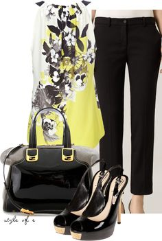 """""""Black and Yellow Halter"""" by styleofe on Polyvore"""