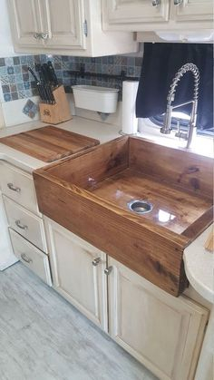 We specialize in these wooden style sinks, have been tested and mother approved. they are layered with a tough water proof epoxy resin, and mounting braces for hold and support. Please contact us with any other questions and request for size color and any Home Decor Kitchen, Diy Kitchen, Home Kitchens, Diy Home Decor, Awesome Kitchen, Farmhouse Sink Kitchen, Kitchen Cabinets, Copper Farmhouse Sinks, Farmers Sink Kitchen