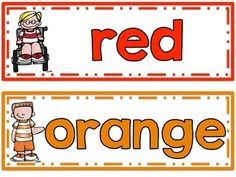 FREE color word cards (red, orange, yellow, green, blue, purple, pink, brown, black, white, gray)