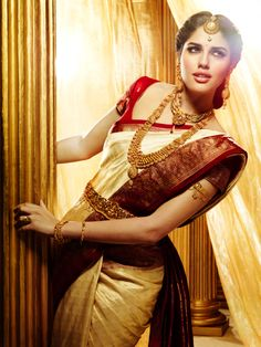 south indian bride, cream and red saree, South Indian Kanjeevaram Silk Saree  Bridal Jewelry