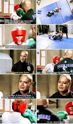 Teal'c training Jonas Quinn.