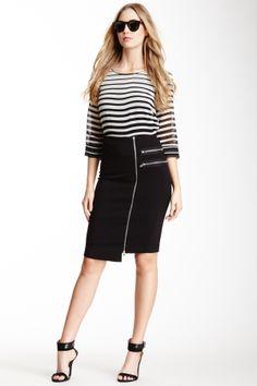 slim skirt, exposed zippers, asymmetrical hem