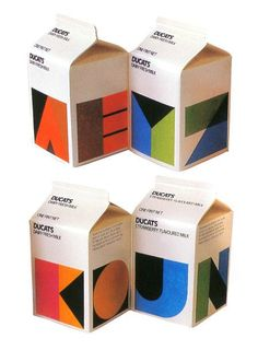 I agree with Shelby, I'd pay good money to get my hands on these Ducats milk cartons designed by Heinz Grunwald in the 80s. They're beautiful and functional. These are also a reminder of how bad design can get nowadays. It's our responsibility as designers to push graphic design back to this type of thinking. Simple, smart, beautiful. Smart Packaging, Milk Packaging, Chocolate Packaging, Food Packaging Design, Coffee Packaging, Bottle Packaging, Packaging Design Inspiration, Packaging Ideas, Minimal Graphic Design
