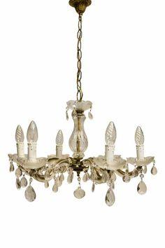 Online veilinghuis Catawiki: Een zogenaamde Maria Theresia kristallen en koperen kroonluchter met 6 armen