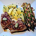 Côtes d'agneau au beurre à l'ail et asperges vertes aux amandes grillées - asperges - Bibica et son poids