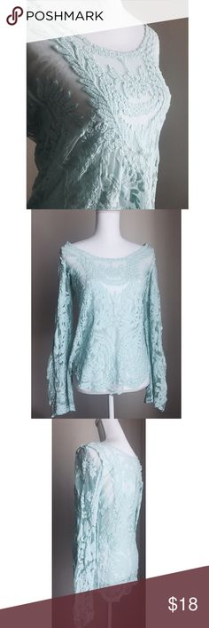 Mint Lace Blouse New ✨ Beautiful mint lace long sleeved top with ornate detail throughout ⚜️ Size L Tops