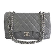 Pre-Owned Chanel Jumbo Grey Classic Lambskin Flap Bag ($3,399) ❤ liked on Polyvore featuring bags, handbags, chanel, bags & wallets, bolsa, grey, multi color purse, colorful purses, chanel purse and lambskin handbag