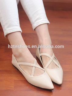 2015 nueva ladies zapatillas casual punta estrecha tacón bajo plana cruz correa…