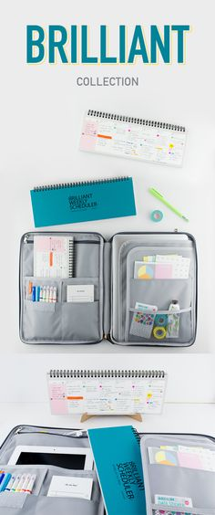 What's brilliant? This organization tool set that includes a beautiful pouch and planner! The Brilliant Collection is a match made in heaven. The Brilliant Weekly Scheduler lets you plan and see your week at a glance. It even has a desk stand! The Better Together Daily A4 Pouch will then organize the planner and all your supplies in one place. The endless pockets are great for notebooks, pens, sticky notes, and even a laptop! This overachieving duo will make life so much easier, so check it…