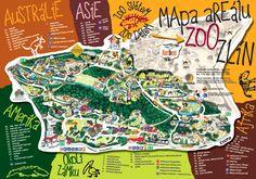 ZOO ZLÍN - Mapa zoo Comic Books, America, Comics, Cover, Asia, Cartoons, Cartoons, Comic, Comic Book