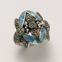 Wildthings  Small Marcasite Two Dragonfly Ring with Blue Shell