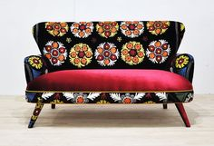 Handmade two seat upholstered soda with vintage Uzbek Suzani and velvet fabrics by namedesignstudio on Etsy