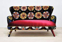 Handmade two seat upholstered soda with vintage Uzbek Suzani and velvet fabrics by namedesignstudio on Etsy