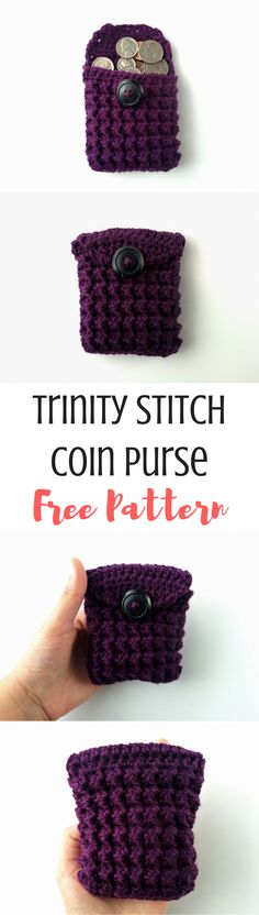 Learn how to crochet the trinity stitch with this video tutorial and get a free pattern for the trinity stitch coin purse!