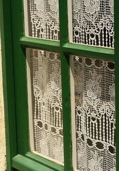 Irish Cottage Window~My sweet Irish Mother loved her Lace Cutrains in the windows~ Irish Cottage, Crochet Curtains, Lace Curtains, Country Curtains, Gypsy Curtains, Purple Curtains, Luxury Curtains, Short Curtains, Vintage Curtains