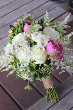 white roses, pink peonies, Queen Anne's lace, astilbe Four Leaf Clover Designs - Lehigh Valley/Poconos