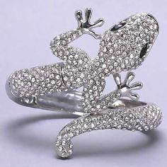 Crystal Bangle Bracelets | Crystal Lizard Bracelet Silver tone