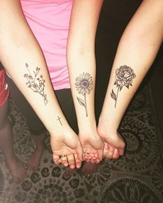 Pin for Later: 55 Creative Tattoos You'll Want to Get With Your Best Friend Flower Power