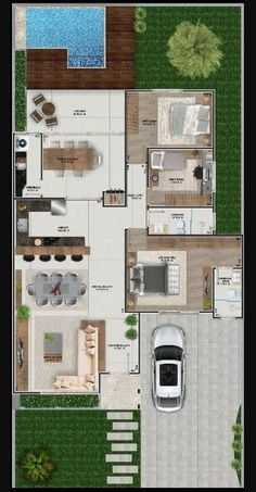 House in open concept with 3 bedrooms - . - House in open concept with 3 bedrooms – plan - Sims House Plans, House Layout Plans, Dream House Plans, Modern House Plans, Small House Plans, House Layouts, House Floor Plans, Rustic Home Design, Modern House Design