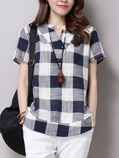Plus Size Cotton Linen Blouses Female 2017 Summer Women's Casual Short Sleeve V-Neck Plaid Shirts Blouse Tops Modest Fashion, Fashion Outfits, Top Mode, Hijab Style, Plaid Shorts, Short Tops, Long Tops, Elegant Outfit, Short Sleeve Blouse
