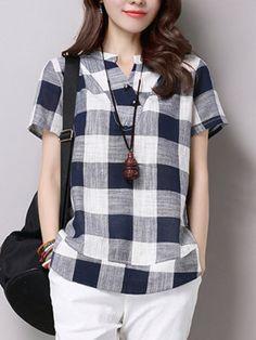 d728a0bd3744d Plus Size Cotton Linen Blouses Female 2017 Summer Women s Casual Short  Sleeve V-Neck Plaid Shirts Blouse Tops