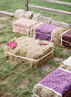 Gussied up hale bales Photography by Jose Villa / josevillaphoto.com, Event Design by Moon Canyon Design / mooncanyondesign.com/ #haybales #seating #wedding