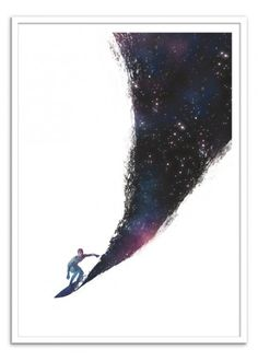 Art-Poster Wall Editions : Surfing the universe, by Robert Farkas. Format : 50 x 70 cm. #surf #surfer #galaxy #poster #print #art #walleditions